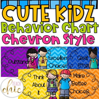 Cute Students Chevron and Editable Behavior Chart