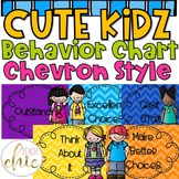 Cute Students Chevron and Editable Behavior Chart