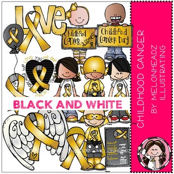 Melonheadz: Childhood Cancer Awareness BLACK AND WHITE