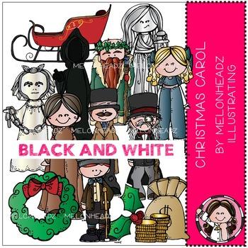 A Christmas Carol clip art - BLACK AND WHITE - by Melonheadz