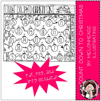 Christmas Count Down coloring page 2016 - Freebie - by Melonheadz
