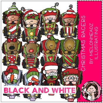Christmas Racers clip art - Race Cars - BLACK AND WHITE - by Melonheadz