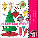 Christmas Tree clip art - BLACK AND WHITE - by Melonheadz