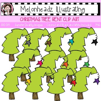 Christmas Tree clip art - Bent - Single Image - by Melonheadz
