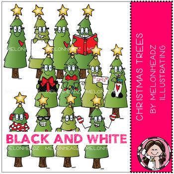 Melonheadz: Christmas Trees clip art - BLACK AND WHITE