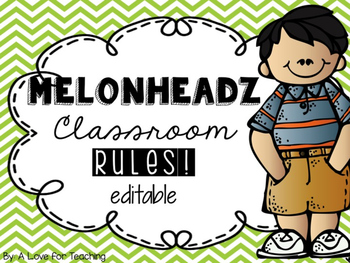 Melonheadz Classroom Rules {Editable}