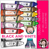 Colors clip art - German - BLACK AND WHITE - by Melonheadz