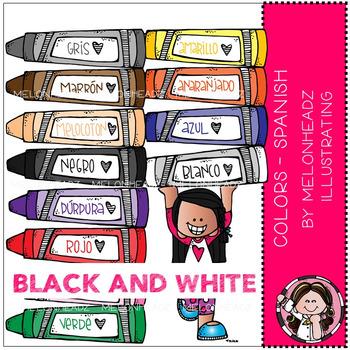 Melonheadz: Colors clip art - Spanish - BLACK AND WHITE