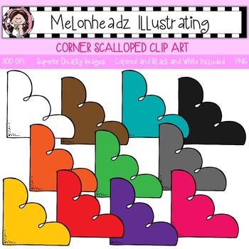 Melonheadz: Corner clip art - Scalloped - Single Image
