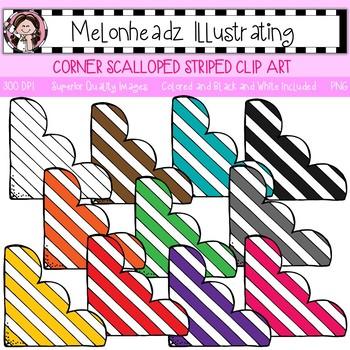 Melonheadz: Corner clip art - Scalloped and Striped - Single Image