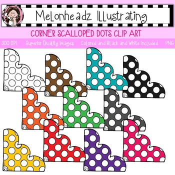 Corner clip art - Scalloped with dots - Single Image - by Melonheadz
