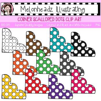Melonheadz: Corner clip art - Scalloped with dots - Single Image