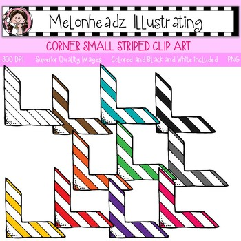 Melonheadz: Corner clip art - Small with Stripes - Single Image