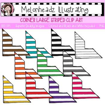 Melonheadz: Corner clip art - Striped - Single Image