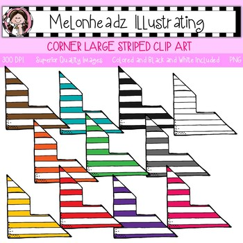 Corner clip art - Striped - Single Image - by Melonheadz