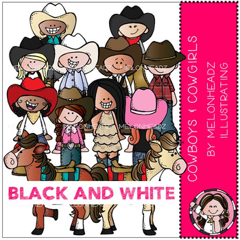 Melonheadz: Cowboy and Cowgirl clip art - BLACK AND WHITE