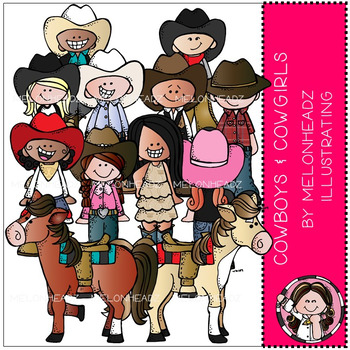 Melonheadz: Cowboy and Cowgirl clip art - COMBO PACK