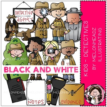 Detectives clip art - Kids - BLACK AND WHITE - by Melonheadz