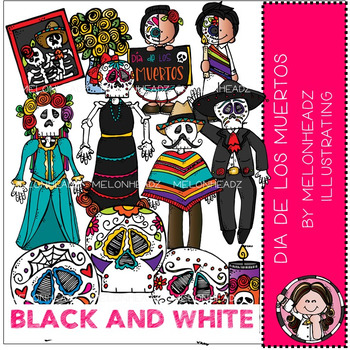 Melonheadz: Dia de los Muertos clip art - BLACK AND WHITE