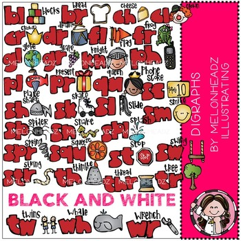 Digraphs clip art - BLACK AND WHITE - by Melonheadz