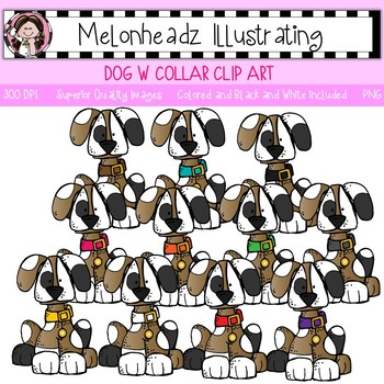 Melonheadz: Dog with collar clip art - Single Image