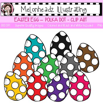 Melonheadz: Easter Egg clip art - Polka Dotted - Single Image
