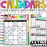 Editable Calendar 2018-2019 FREE Lifetime Updates (English|Spanish|French)