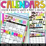 Editable Calendar 2019-2020 FREE Lifetime Updates (English|Spanish|French)