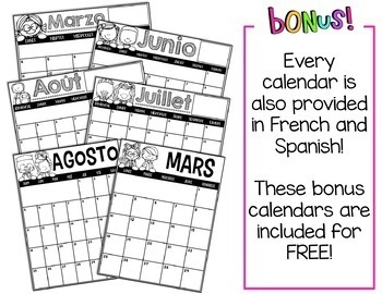 Editable Calendar 2020-2021 | English & Spanish +Version ...