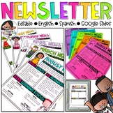 Newsletter Templates Editable | Google Slides | English & Spanish | B&W