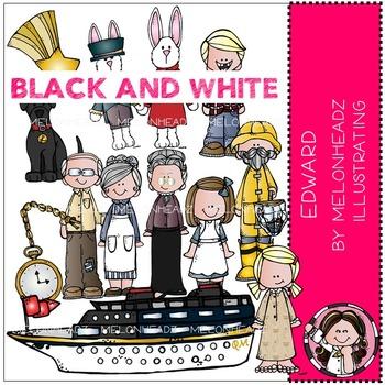 Melonheadz: Edward clip art - BLACK AND WHITE