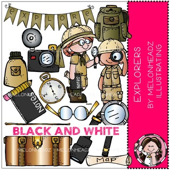 Explorers clip art - BLACK AND WHITE - by Melonheadz