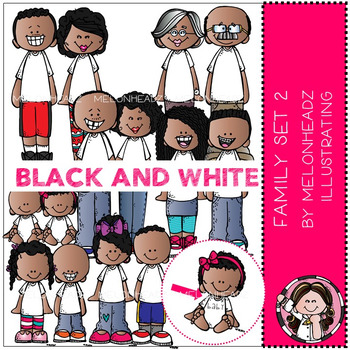 Family clip art Set 2 - BLACK AND WHITE - by Melonheadz