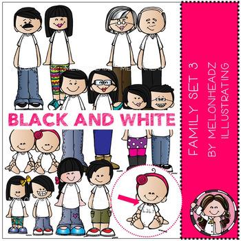 Melonheadz: Family clip art Set 3 - BLACK AND WHITE