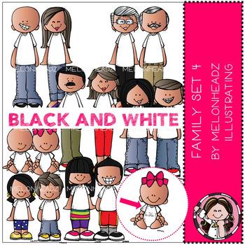 Melonheadz: Family clip art Set 4 - BLACK AND WHITE