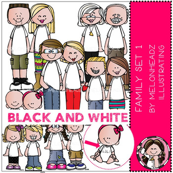 Melonheadz: Family clip art set 1 - BLACK AND WHITE