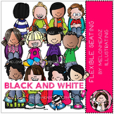 Flexible Seating clip art - BLACK AND WHITE - by Melonheadz