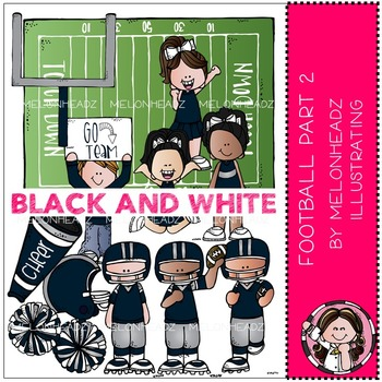 Football clip art - Set 2 - BLACK AND WHITE - by Melonheadz