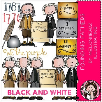 Founding Fathers clip art - BLACK AND WHITE - by Melonheadz