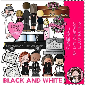 Funeral clip art - BLACK AND WHITE - by Melonheadz