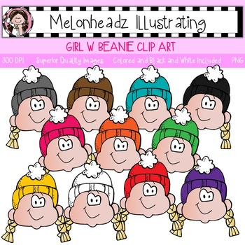 Girl with Beanie clip art - Single Image - by Melonheadz