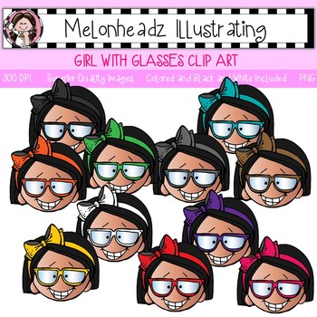 Girl with glasses clip art - Single Image - by Melonheadz