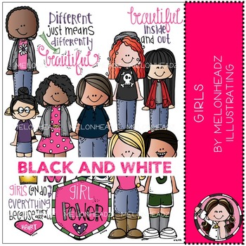 Girls clip art - BLACK AND WHITE - by Melonheadz