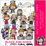 Happy New Year clip art - Lucy Doris - BLACK AND WHITE - by Melonheadz