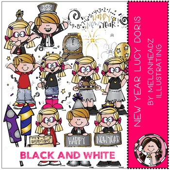 happy new year clip art lucy doris black and white by melonheadz