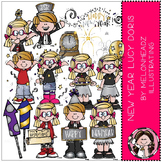 Happy New Year clip art - Lucy Doris - COMBO PACK - by Melonheadz
