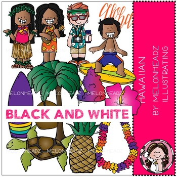 Melonheadz: Hawaiian clip art - BLACK AND WHITE