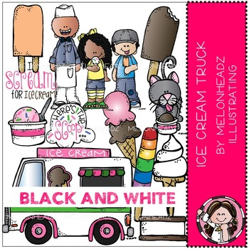 Ice Cream Truck clip art - BLACK AND WHITE - by Melonheadz