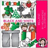 Ireland clip art - BLACK AND WHITE - by Melonheadz