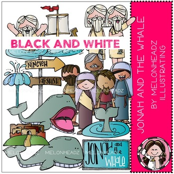 Jonah and the Whale clip art - Bible - BLACK AND WHITE - by Melonheadz
